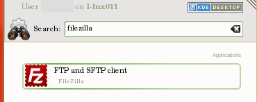 search, start filezilla on linux