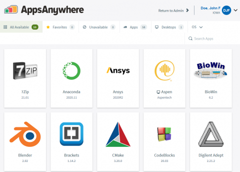 AppsAnywhere Main Page