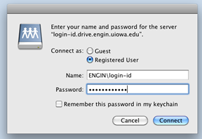 Map drive mac connect to password