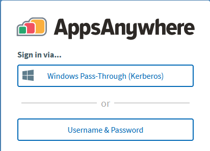 AppsAnywhere Select Username & Password