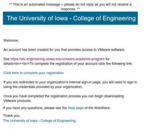 VMware eMail message