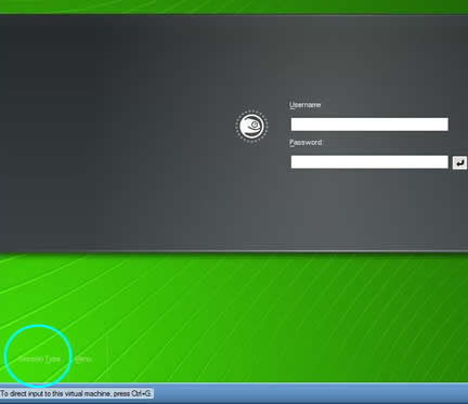 suse linux login screen